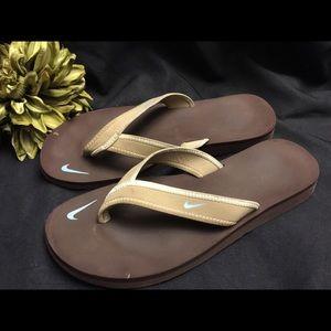 Nike-Women's flip flops. Tan w/Brown, Size: 9